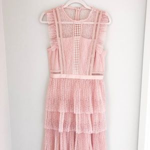 Heartloom Pink Tiered Lace Dress